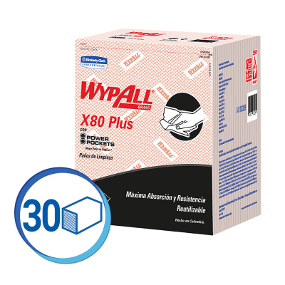 WAYPALL X80 PAÑOS DE LIMPIEZA PRE DOBLADOS ROJO (30228269)